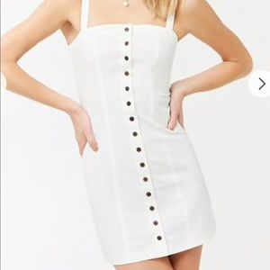 f21 white dress with buttons